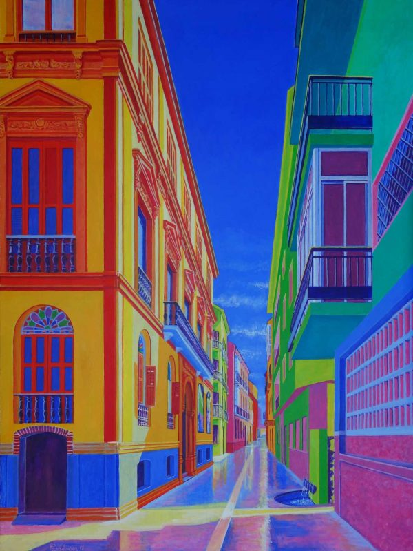 Calle Beatas (Málaga). Year 2018. Acrylic on panel- 100 x 75 cm-39,4¨x 29,5¨