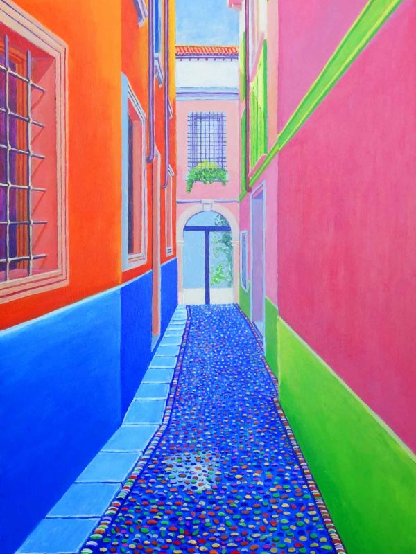 Callejón veronés (Verona). Year 2018. Acrylic on panel 130 x 50 cm-51,2¨x 19,7¨