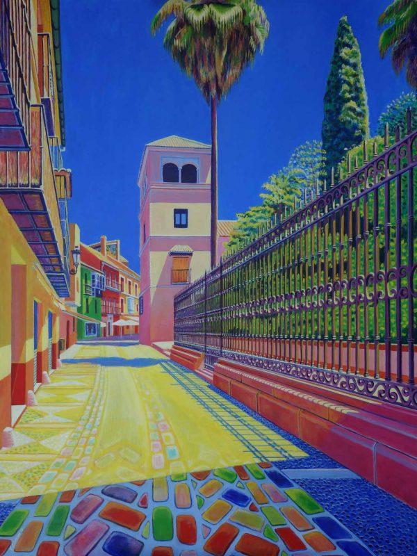 Hacia el Museo Picasso (Málaga).. Year 2018. Acrylic on panel- 100 x 75 cm-39,4¨x 29,5¨