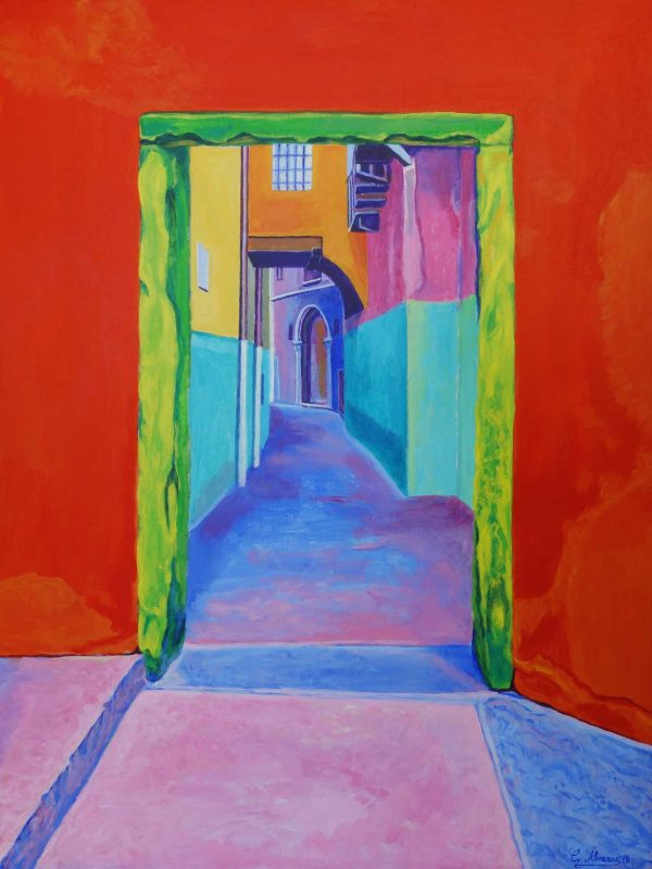 La calle escondida (Verona). Year 2018. Acrylic on panel- 80 x 60 cm- 31,5¨x 24,6¨
