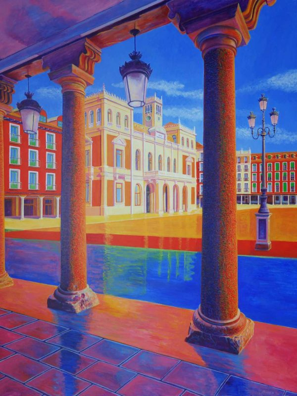 Plaza Mayor (Valladolid). Year 2018. Acrylic on panel 130 x 100 cm-51,2¨x 39,4¨
