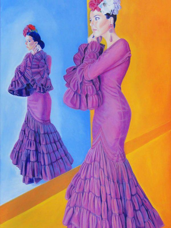 Flor morada.Year 2015. Oil on canvas. 160 x 100 cm-63¨x 39,4¨