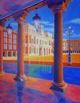 PLAZA-MAYOR-VALLADOLID-CONCHI-ALVAREZ--YEAR-2018-ACRYLIC-ON-PANEL-51,2¨X-39,4¨-130-X-100-CM