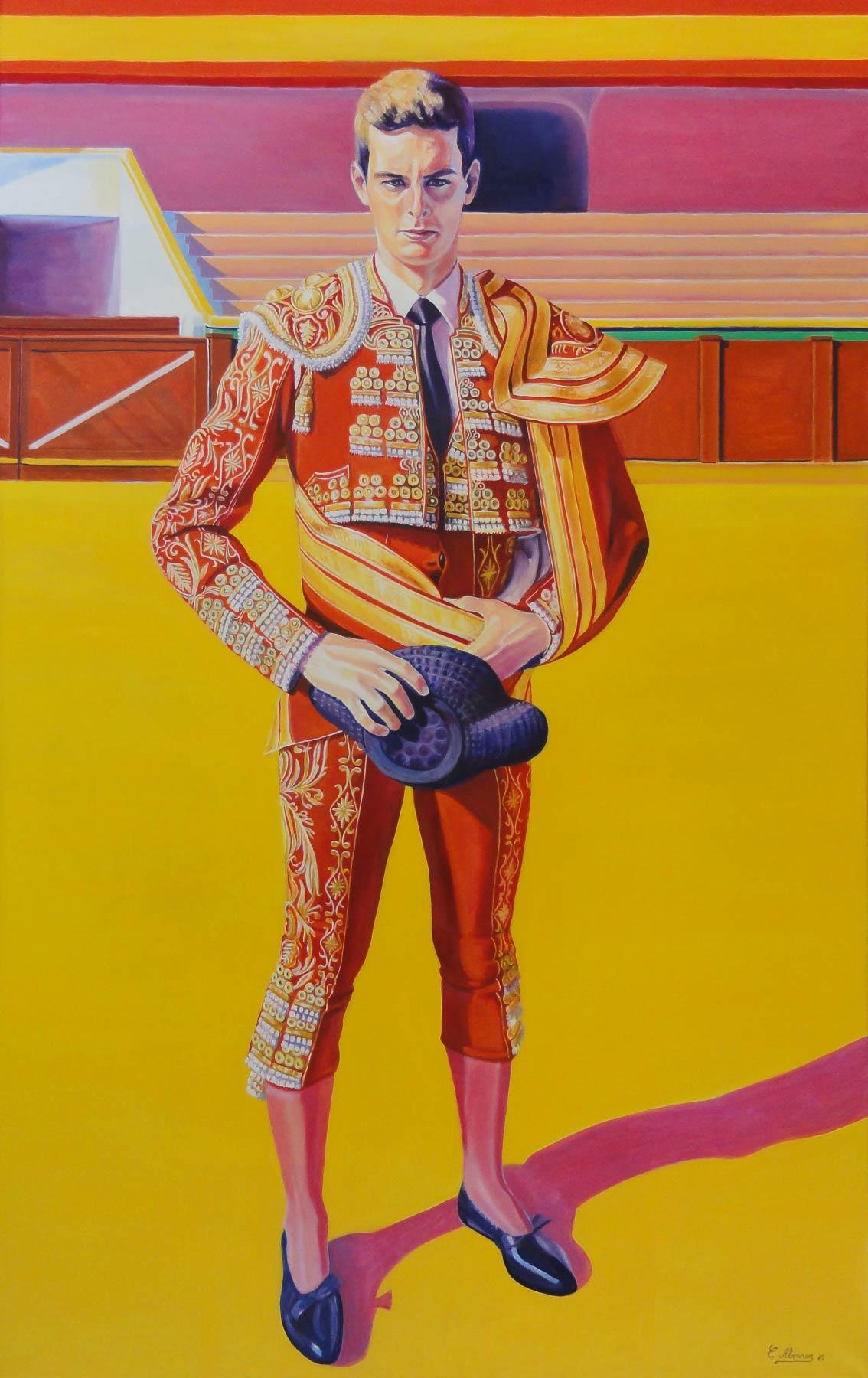 Torero de grana y oro. Year 2015. Oil on canvas. 160 x 100 cm-63¨x 39,4¨